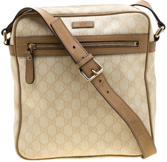 Gucci Beige GG Supreme Canvas and Leather Messenger Bag