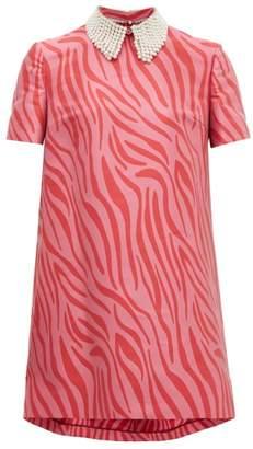 Sara Battaglia Faux Pearl-collar Zebra-jacquard Shift Dress - Womens - Pink Multi