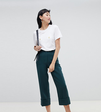 Monki cropped tailored pants in dark green