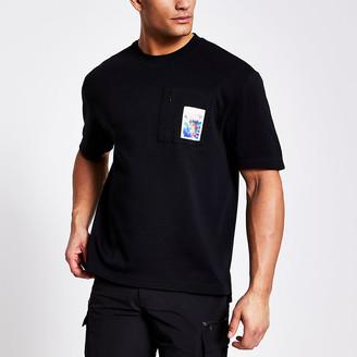 River Island Black printed zip chest pocket T-shirt