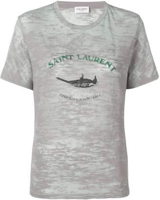 Saint Laurent logo print crew neck T-shirt