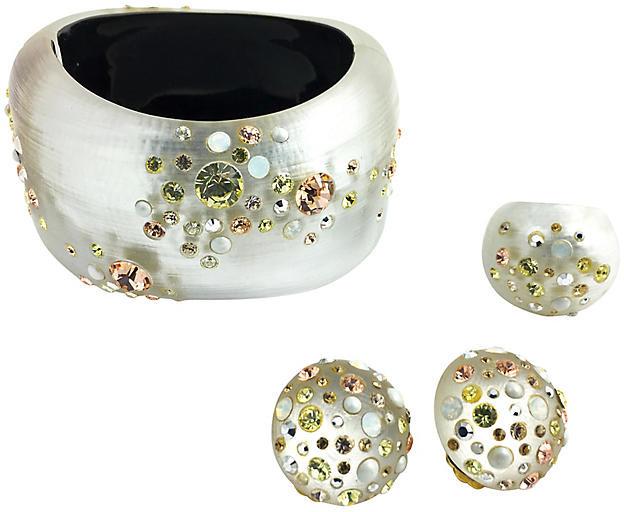 One Kings Lane Vintage Alexis Bittar Bracelet Ring & Earrings - Owl's Roost Antiques