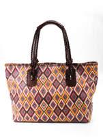 Carla Mancini Brown Yellow Blue Woven Leather Double Handle Tote Handbag