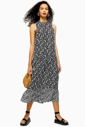 Topshop Womens Black And White Floral Sleeveless Dress - Monochrome