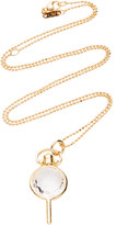Monica Rich Kosann Mini Round Key 18K Gold Crystal Necklace