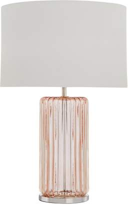 Rose Ribbed Glass Base Table Lamp