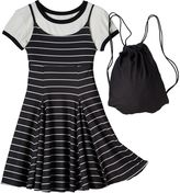 Knitworks Girls 7-16 Crop Top Tee & Dress with Drawstring Bag Set