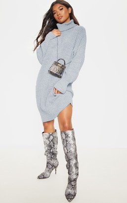 SWAGGER Grey Marl Oversized High Neck Knitted Jumper Dress