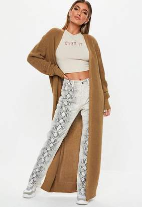 Missguided Camel Long Maxi Knit Cardigan