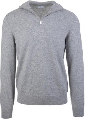 Fedeli Half Zip Favonio Pullover In Grey Cashmere