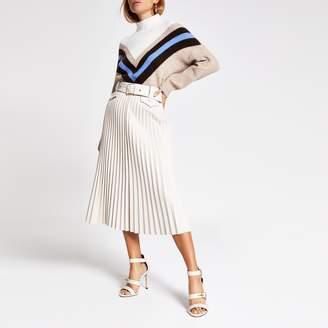 River Island Womens Cream pleated faux leather midi skirt