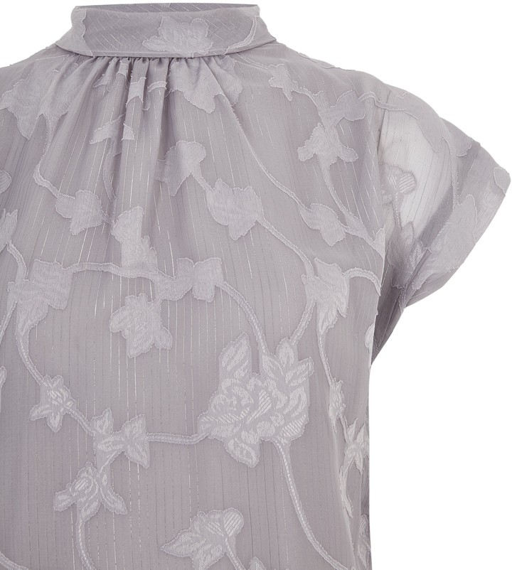 Thumbnail for your product : New Look Floral Burnout Metallic Stripe Top