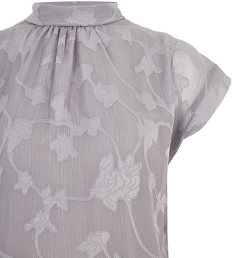 New Look Floral Burnout Metallic Stripe Top