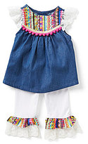 Rare Editions Baby Girls 3-9 Months Embroidered Chambray Top & Leggings Set