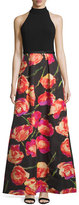 Theia Halter-Neck Gown W/Floral-Print Skirt, Black/Poppy