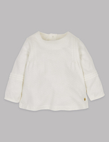 Autograph Pure Cotton Textured Jersey Top