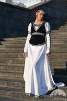 "Etsy 12% DISCOUNT! Medieval Wedding Dress and Vest ""Chess Queen""; white dress; wedding gown; medieval wed"