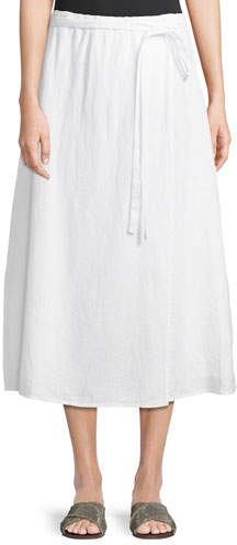 Faux-Wrap Linen Midi Skirt- Plus Size