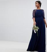 TFNC Petite Petite Pleated Maxi Bridesmaid Dress With Spot Mesh Frill Detail
