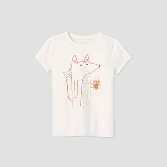Cat & Jack Girls' Short Sleeve Latte Fox Graphic T-Shirt - Cat & JackTM