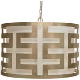 Worlds Away Greek Key Pendant With Interior Shade, Silver Leaf