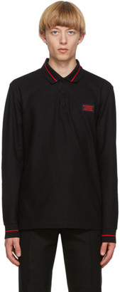 Burberry Black Logo Applique Genford Long Sleeve Polo
