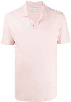 Officine Generale Linen Slim Fit Polo Shirt