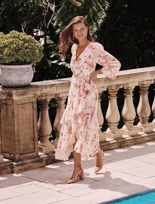 Forever New Fleur Long-Sleeve Wrap Dress - Burnt Sienna - 16