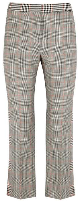 Alexander McQueen Prince Of Wales Checked Wool-blend Trousers