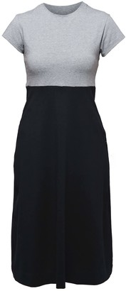 Non+ Non595 Grey-Black A Line Dress With Short Sleeves