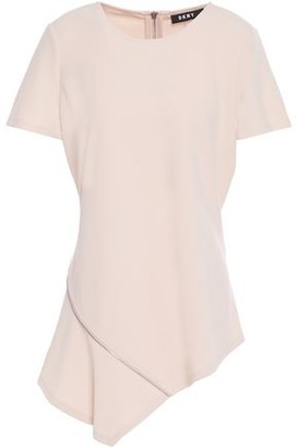 DKNY Asymmetric Zip-embellished Stretch-crepe Top