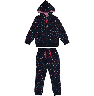 Board Angels Infant Girls Heart Print Jog Suit Navy/Multi