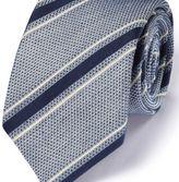 Charles Tyrwhitt Blue & white silk mix Italian luxury stripe grenadine tie