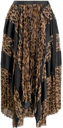 Sacai Asymmetric Printed Midi Skirt