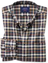 Extra Slim Fit Button-Down Non-Iron Twill Brown Multi Check Cotton Casual Shirt Single Cuff Size XS by Charles Tyrwhitt
