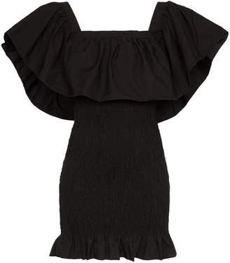 Solid & Striped ruffle-trimmed shirred mini dress