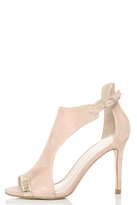 Quiz Pink Faux Suede Metallic T-Bar Heeled Sandals