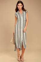 Billabong Mad Times Black and Cream Striped Shirt Dress