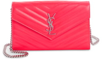 Saint Laurent Monogramme Quilted Leather Wallet on a Chain