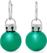 Balenciaga December Ball Silver-tone And Resin Earrings - Green