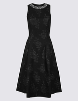 M&S Collection Textured Jewel Neck Prom Skater Dress
