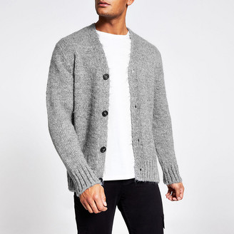 River Island Grey long sleeve slim fit knitted cardigan