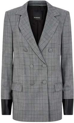Pinko Leather-Detailed Check Blazer