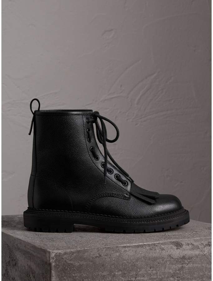 Burberry Fringe Detail Grainy Leather Zip-front Boots