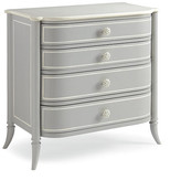Caracole Mademoiselle 3-Drawer Dresser - Gray frame, gray/off-white; top, cream; hardware, off-white