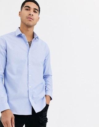 Topman formal grandad shirt in paisley print-Blue