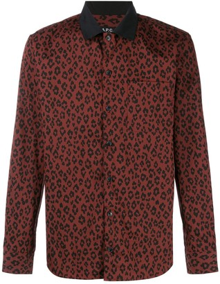 A.P.C. long-sleeved leopard-print shirt