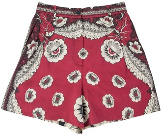 Valentino Burgundy Cotton Shorts for Women
