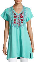 Johnny Was Floral-Embroidered Asymmetric Tunic, Light Green