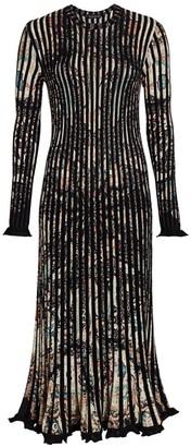 Etro Rib-Knit Ruffle Midi Dress